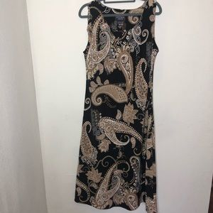 Black and Brown Paisley Maxi Dress 14 Petite